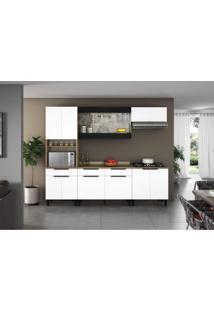 Cozinha Completa 5 Peças 11 Portas, 2 De Vidro Com Paneleiro E Tampo Para Cooktop Itamaxi Itatiaia Branco/Amadeirado