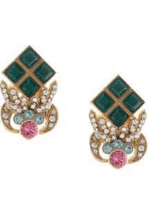 Dolce & Gabbana Par De Brincos Com Aplicações De Strass - Verde
