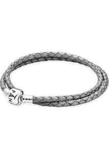 Bracelete De Couro Trançado Cinza De Duas Voltas - 38 Cm