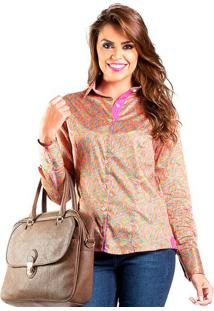 Camisa Feminina Slim Estampa Colorida Carlos Brusman