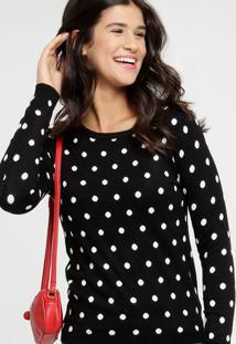 Suéter Feminino Estampa Bolinhas Manga Longa