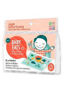 Jogo Americano Infantil Com Bordas Adesivas Likluc Baby Eats Com 8 Unidades