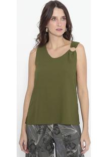 Blusa Com Aviamento & Fendas - Verde Militar - Wool Wool Line