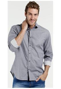 Camisa Masculina Estampada Manga Longa Marisa
