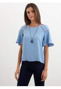 Blusa Le Lis Blanc Luiza Azul Feminina (Hortência, 50)