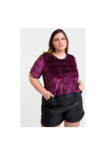 Blusa Cropped Almaria Plus Size Tal Qual Gola Redonda Roxo