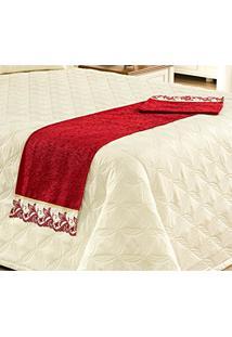 Peseira (Xale) Avulsa Para Cama De Casal King Com Lese De Richilieu Em Tecido Chenile - Vermelho
