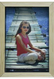Porta-Retrato Wood Natural E Preto 17X19Cm