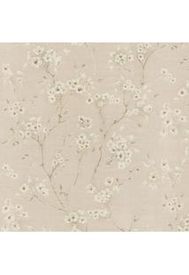 Papel De Parede Floral- Marrom Claro & Bege Claro- 1Shark Metais