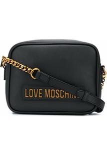Love Moschino Bolsa Transversal Com Placa De Logo E Alça De Corrente - Preto