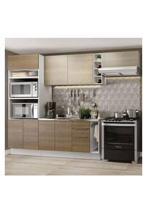 Cozinha Completa Madesa Stella 290002 Com Armário E Balcão Branco/Rustic/Saara Cor:Branco/Rustic/Saara