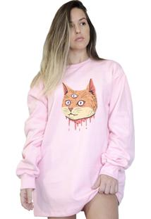 Casaco Moletom Boutique Judith Cat Head Rosa - Kanui