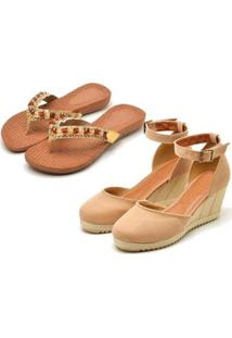 Kit Sandália Anabela + Chinelo Ousy Shoes Feminino - Feminino-Nude+Caramelo