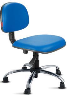 Cadeira Secretária Giratória Cromada Courvin Azul Royal