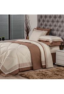 Edredom Solteiro Soft Comfort Poliéster Bege E Marrom