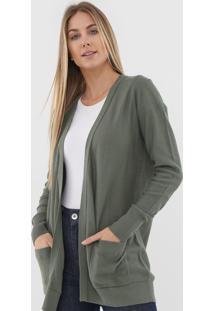 Maxi Cardigan Gap Tricot Bolsos Verde - Verde - Feminino - Algodã£O - Dafiti