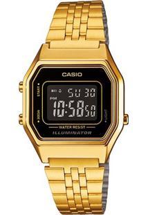 Relógio Feminino Casio Vintage Digital - Feminino-Dourado+Marrom