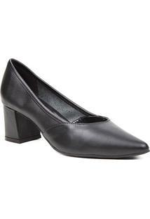 Scarpin Couro Shoestock For You Salto Bloco Médio - Feminino-Preto