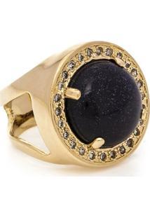 Anel Banhado A Ouro Pedra Estrela E Zirconias - Feminino-Azul Escuro