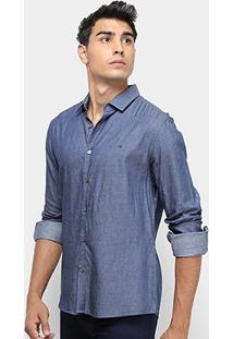 Camisa Jeans Calvin Klein Slim Geneva Manga Longa Masculina - Masculino-Azul Escuro