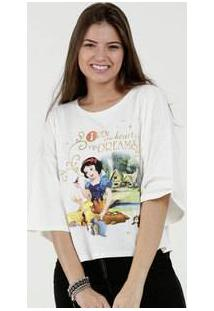 Blusa Feminina Estampa Frontal Branca De Neve Manga 3/4 Disney