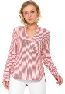 Camisa Osklen Listrada Off-White/Vermelha
