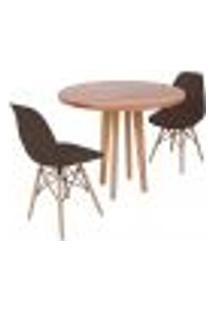 Conjunto Mesa De Jantar Em Madeira 90Cm Com Base Vértice + 2 Cadeiras Eiffel - Marrom