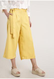 Calça Feminina Pantacourt Clochard Amarelo