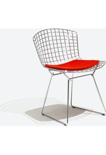 Cadeira Bertoia Inox Tecido Sintético Vermelho Dt 01026352