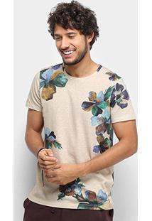 Camiseta Colcci Floral Aquarela Masculina - Masculino-Bege