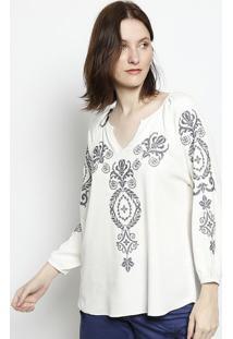 Blusa Com Bordados - Branca & Azulscalon
