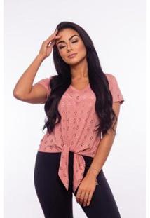 Blusa Aninha Bela Lese Amarração Gola V Feminina - Feminino-Rosa Escuro