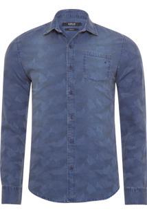 Camisa Masculina Jacquard Camuflado - Azul