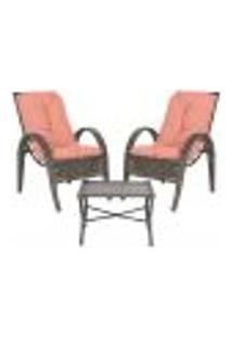Jogo Cadeiras 2Un E Mesa P/ Jardim Edicula Varanda Descanso Trama Napoli Plus Pedra Ferro A15