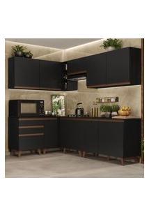 Cozinha Completa De Canto Madesa Reims 392002 Com Armário E Balcáo - Preto Preto