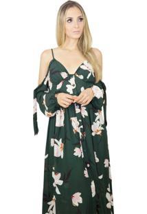 Vestido Longo Liage Estampado Floral Flores Alça Alcinha Decote V Botão Manga Ombro Aberto Verde Escuro Militar Musgo Preto Rosa - Kanui