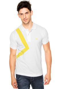 Camisa Polo Lacoste Slim Recorte Piquet Branca/Amarela