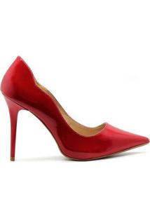 Scarpin Royalz Verniz Salto Alto Fino Penélope Curvas Feminino - Feminino-Vermelho