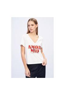 T-Shirt Decote V Branco Ref: 502Ts002009 T-Shirt Decote V Branco Ref: 502Ts002009 - Gg - Branco Lança Perfume