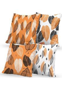 Kit 4 Capas De Almofadas Decorativas Own Laranja Folhas 45X45 - Somente Capa