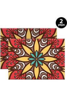 Kit 2Pçs Jogo Americano Mdecor Abstrato 40X28Cm Vermelho