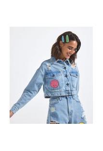 Jaqueta Cropped Jeans Com Puídos Estampa Smiley Frente E Costas | Smiley® | Azul | M