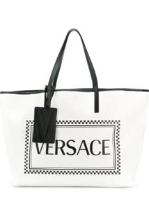 Versace Bolsa Tote Com Logo - Branco
