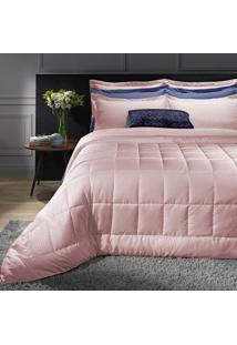 Kit Cobreleito Colcha Solteiro Hedrons Luma Comfort Marble Rosa