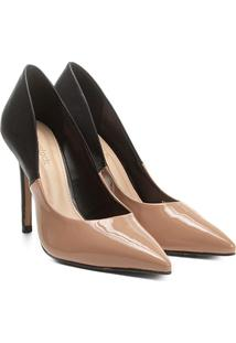 Scarpin Shoestock Salto Alto Bicolor - Feminino-Nude