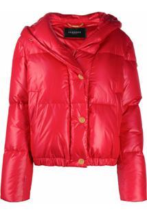 Versace Jaqueta Matelassê Com Estampa De Logo - Vermelho