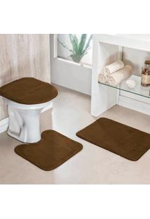 Jogo Banheiro Dourados Enxovais Liso 03 Peças Cafe
