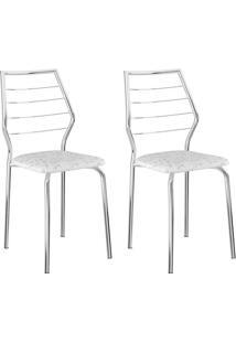 Conjunto 2 Cadeiras 1716 Casual Tecido Fantasia Branco Cromado