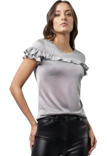 Blusa Mx Fashion Metalizada Micheline Prata
