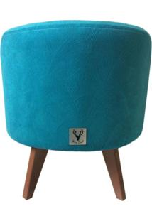 Puff Pã© Palito Redondo Alce Couch Velvet Next Turquesa 40Cm - Azul - Dafiti